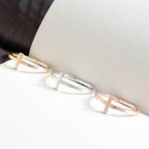 Rose Gold Sideways Cross Ring Minimalist Religious